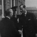 Sir Heman Lebus welcomes the Duke of Edinburgh to the factory in 1955