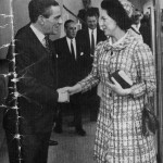 Oliver Lebus and Princess Margaret during a visit to the factory in 1968