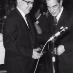 Oliver Lebus presenting Arthur King with his gold watch for 40 years service. 1926 - 1966