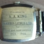 Watch presented to Mr A A King for long and loyal service