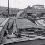 Ferry Lane bridge before Tottenham lock 1950s. New Lebus warehouse to the top left