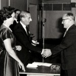 L S Lebus presenting Pat Brignell with his gold watch for 40 years service. 1924 ? 1964
