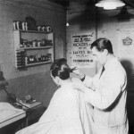 Barber shop at the Lebus factory - 1950