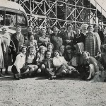 Lebus day trip to Southend in the early 1950s. Violet Thurley amongst the group in the front row wearing a black bow