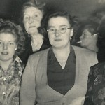 Violet Thurley behind on the far left worked as a sprayer in the late 1940s to the early 1950s. This photo was possibly taken at a Lebus dance