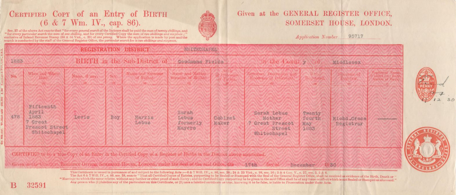 Miscellaneous harris lebus harris lebus birth certificate 1883 aiddatafo Choice Image