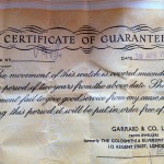 Certificate of guarantee from Garrard & Co. for the watch