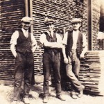 Harold (middle) and friends at work, corner of No 25 shed, 1925