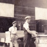 H.E. Mitchell & Fred Hawkes grading plywood in 23 shed